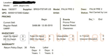 Sure, Verizon's Palm Pre 2 is in Best Buy's inventory system, but zero units are in stock and zero units are in transit