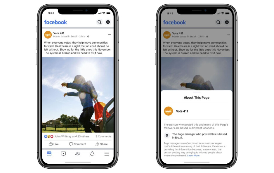 Image source - Facebook - Facebook aiming to make Pages and Accounts more transparent with location info