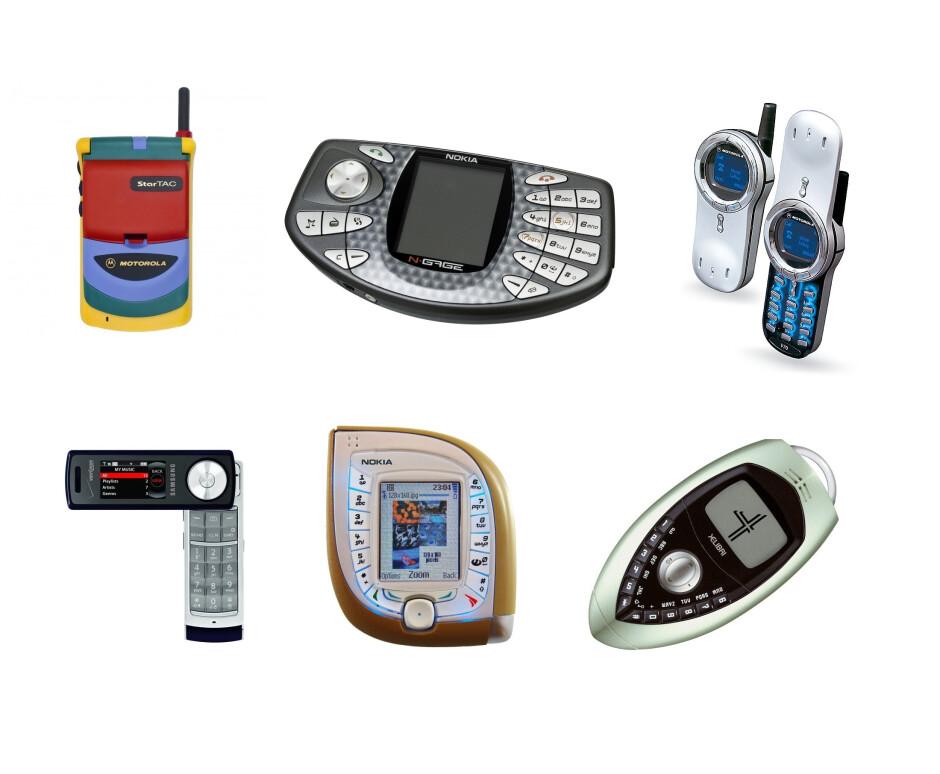 On the top row - Motorola StarTAC Rainbow, Nokia N-GAGE, Motorola V70; On the bottom - Samsung Juke, Nokia 7600, Siemens Xelibri 4 - Why do all smartphones look the same?