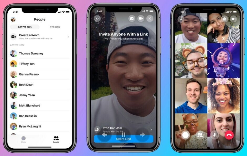 Messenger Rooms allows you to create or join a virtual room with up to 50 people video chatting simultaneously - Facebook's virtual Messenger Rooms allow up to 50 people to video chat simultaneously