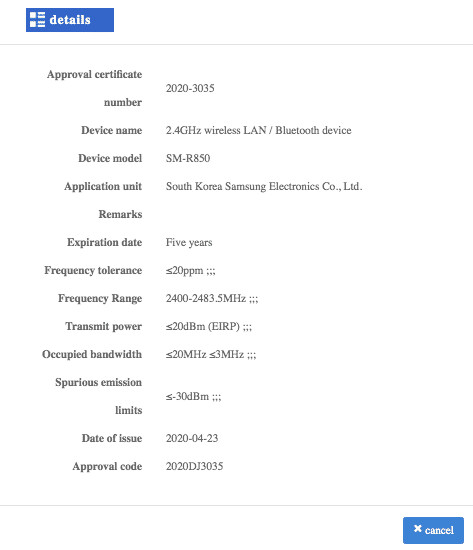 Certification showing two new Samsung Galaxy Watch models - Upcoming Samsung Galaxy Watch model bags Chinese certification