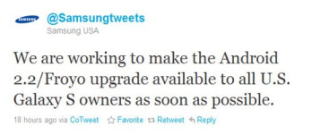 Samsung USA tweets that it is working to bring Froyo for the Galaxy S handsets ASAP