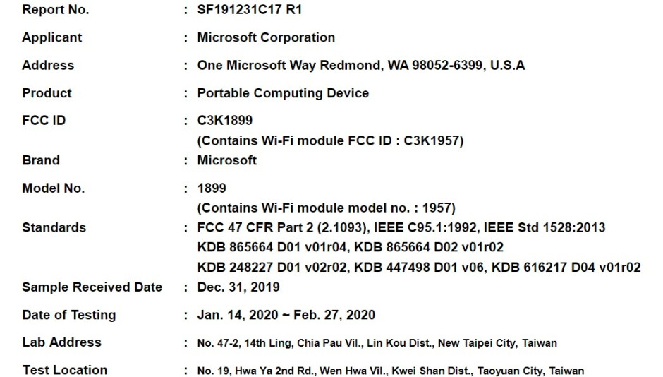 The FCC filing which seemingly shows the Surface Book 3 - Microsoft Surface Book 3 apparently certified by FCC