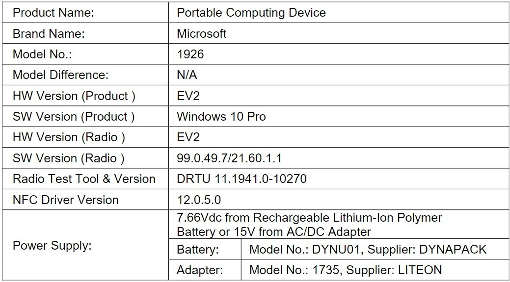 LTE variant of Microsoft's Surface Go 2 apparently pops up on FCC