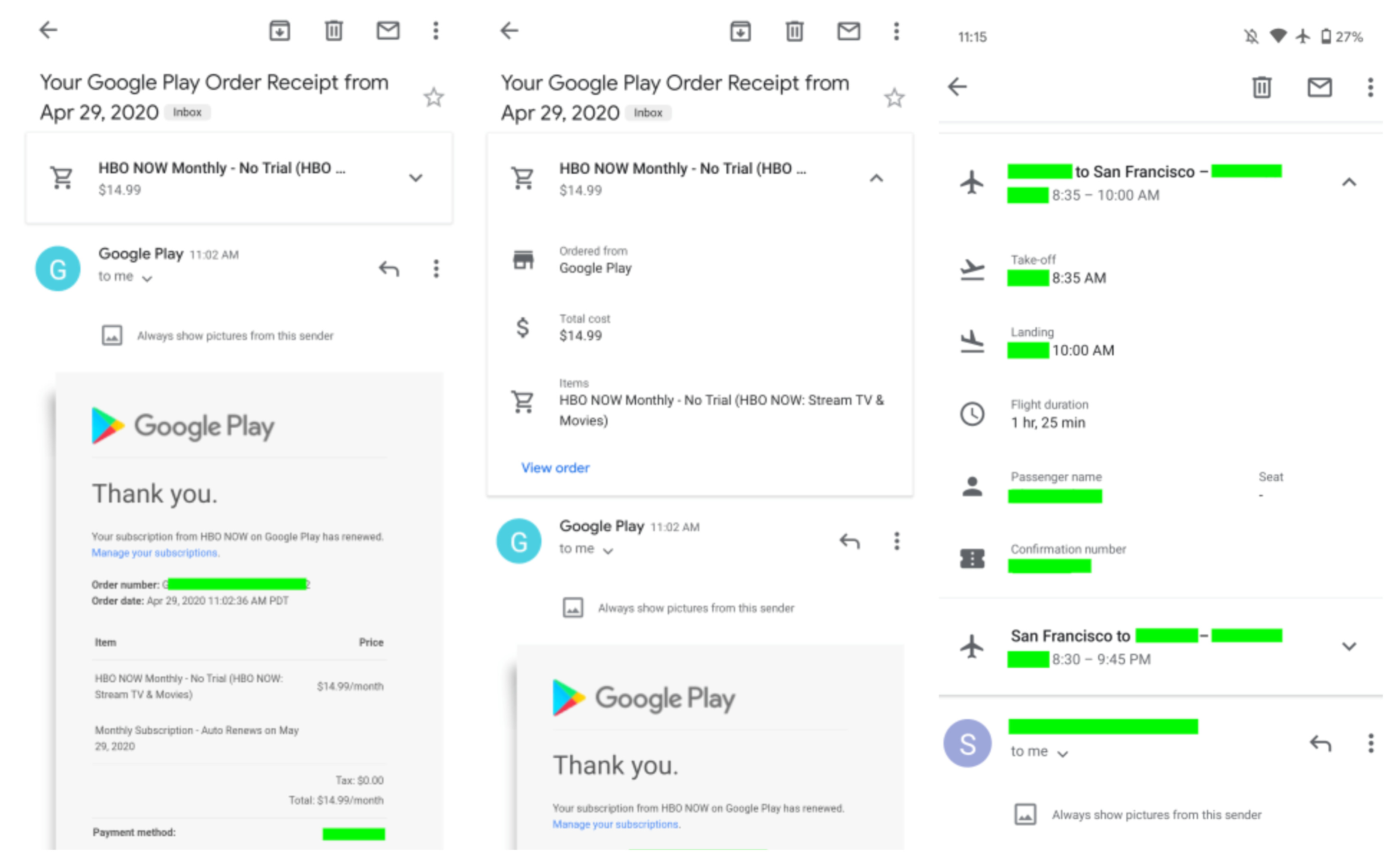 An example of purchase and flight summary cards (courtesy of 9to5Google) - Gmail for Android and iOS gets a useful desktop feature