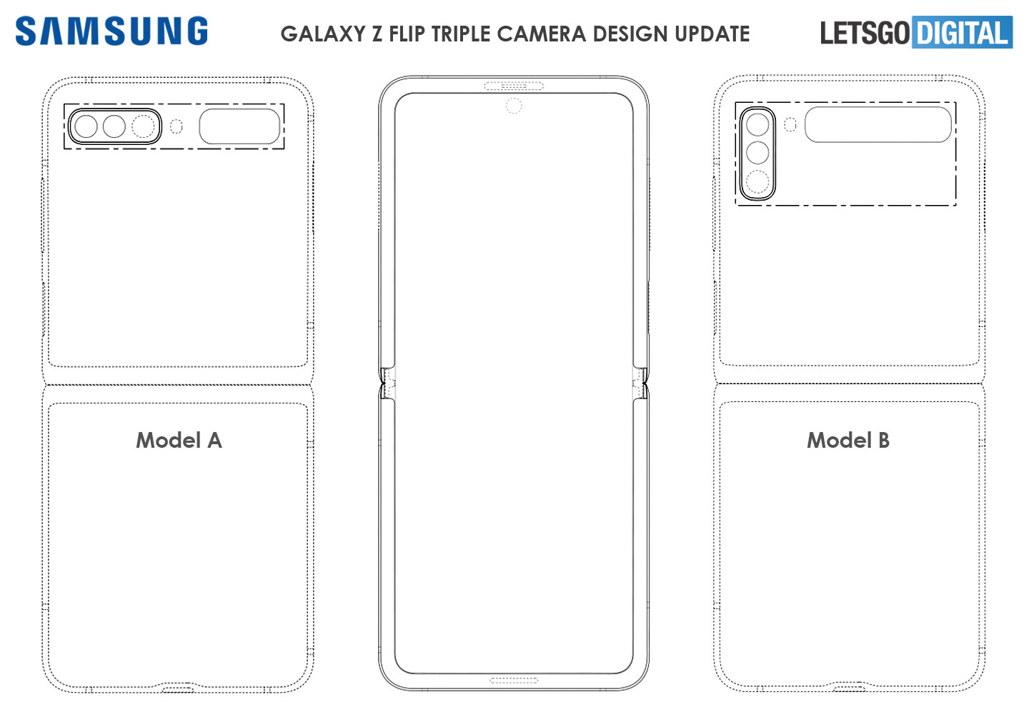 Alleged Galaxy Z Flip 2 design sketches - Galaxy Z Flip 2 will likely have a triple camera system, larger front display
