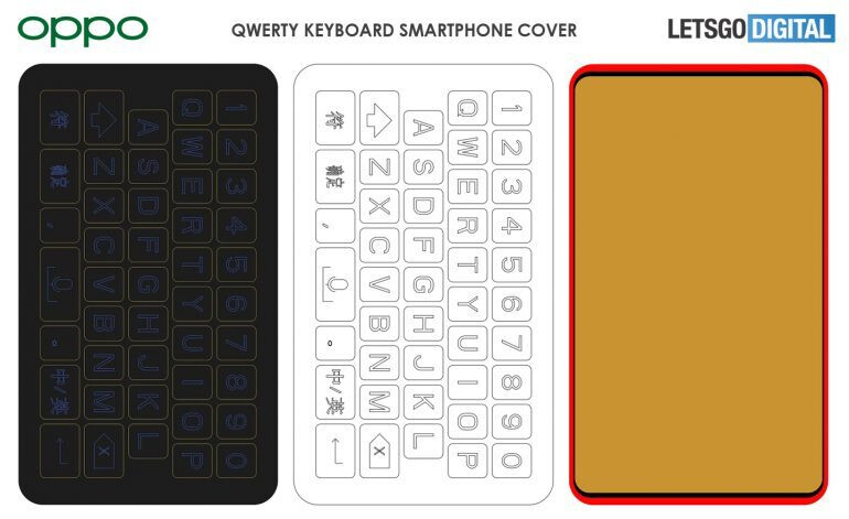 Image courtesy of LetsGoDigital - New Oppo patent shows smartphone case with a QWERTY keyboard