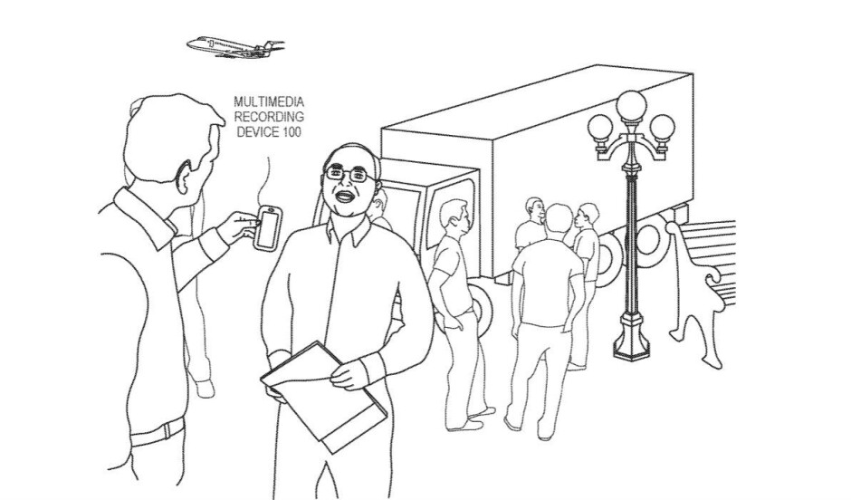 An illustration from Apple's patent, showing an iPhone making such a recording - Apple patents a technology that could take future iPhones' sound recordings to the next level