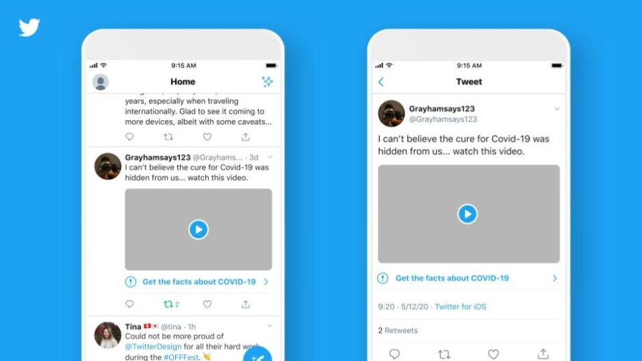 Twitter now labels misleading COVID-19 information