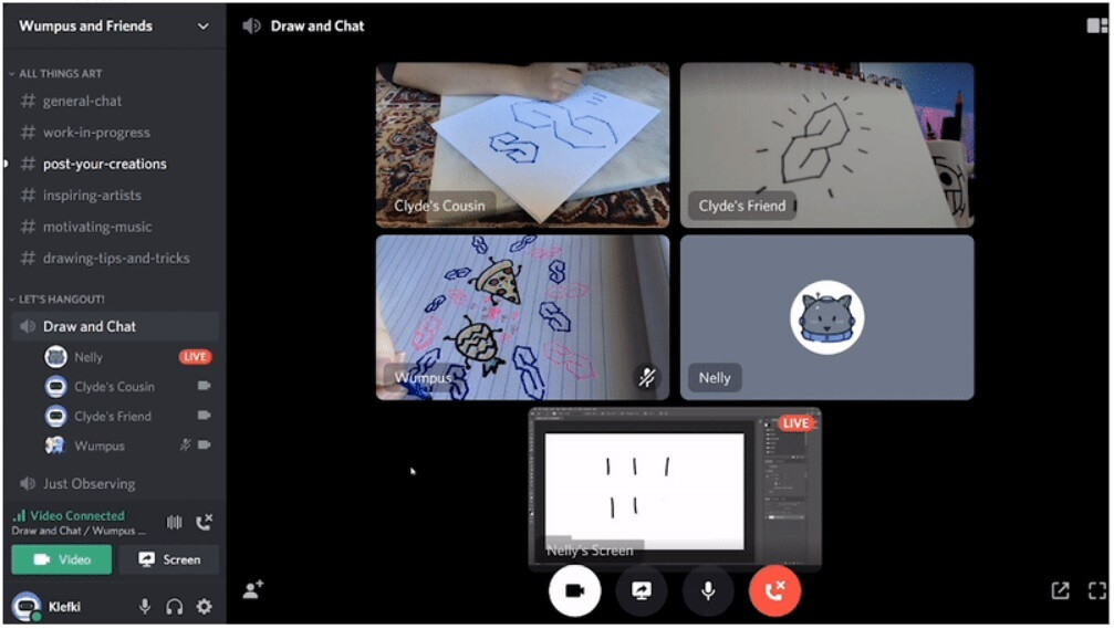 A demonstration of using both video and screen sharing. - Discord gets Server Video chat feature suited for drop-in, drop-out conversation