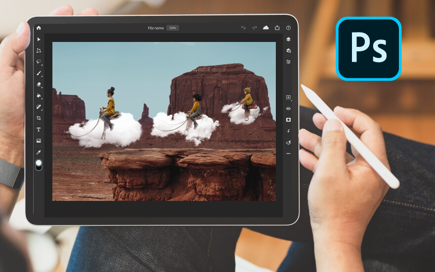 Although often shown with the iPad Pro, Photoshop runs just fine on this budget iPad too. - How is the budget 2019 iPad holding up in 2020, still worth it?