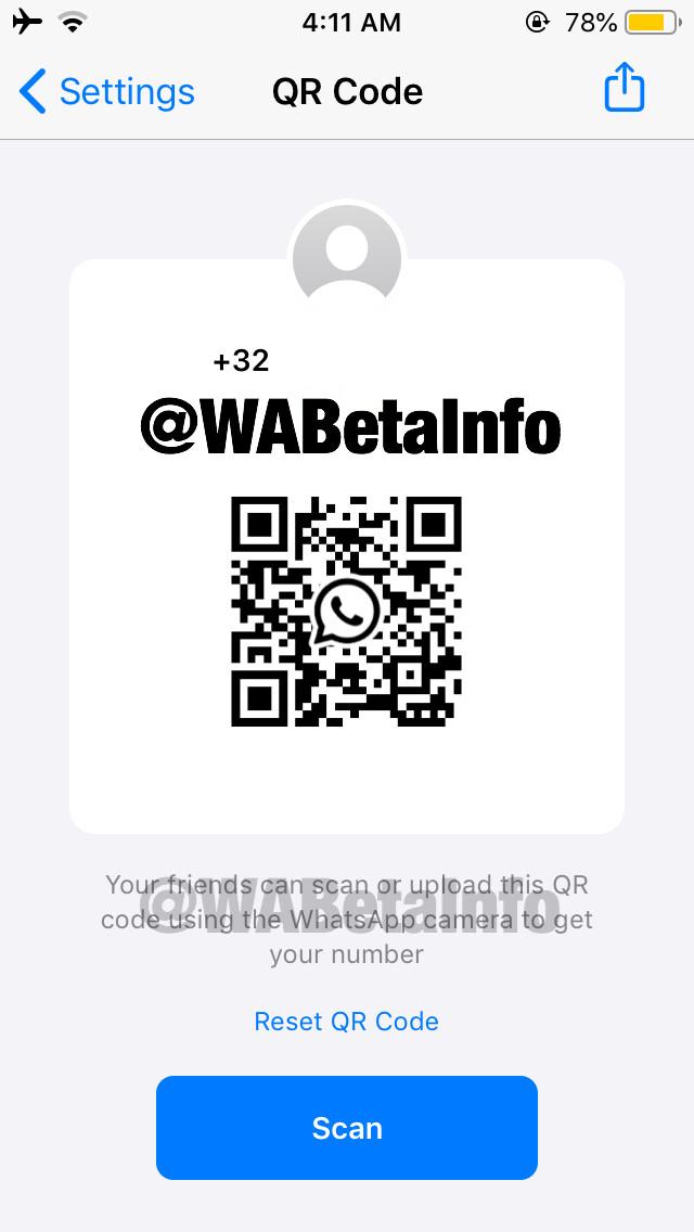 Generating QR code on WhatsApp iOS beta - New beta update for WhatsApp for iOS adds QR code support