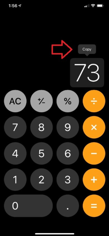A long-press on a tally will allow the iOS stock calculator to paste the figure into an email or text - The stock iOS calculator has several tricks up its sleeve