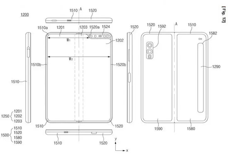 Illustration from the patent - A future Samsung Galaxy Fold might be waterproof, according to a patent