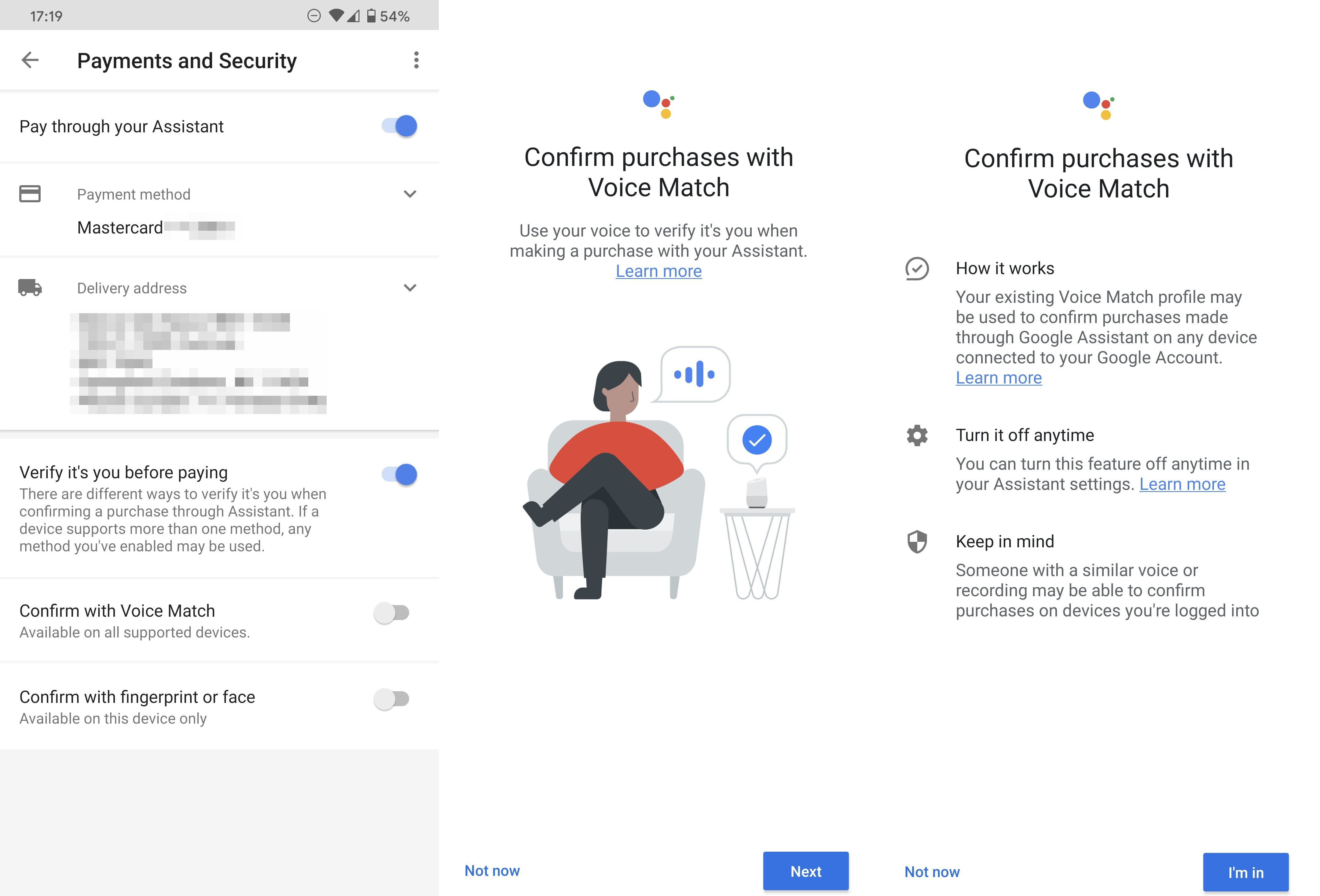 Image source - Android Police - Google lets users confirm payments with their voice