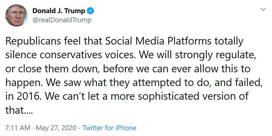 ...leading the president to threaten regulating social media - Twitter's fact-checking leads to Trump's tirade against social media; president threatens regulation