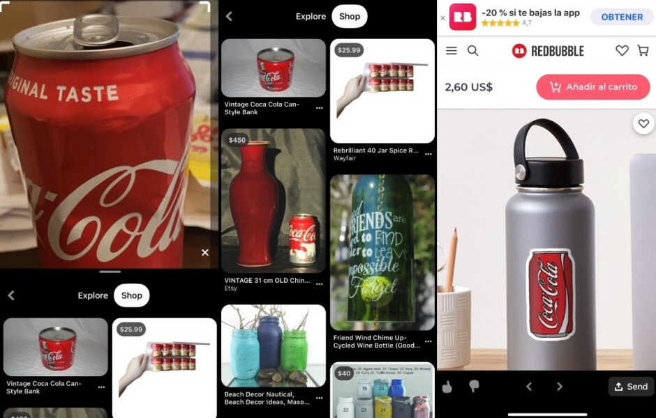 """Update to Pinterest adds a Google Lens type system for shopping. Take a picture and Pinterest will find you similar items you can buy - Update to Pinterest makes shopping on the app a """"snap"""""""