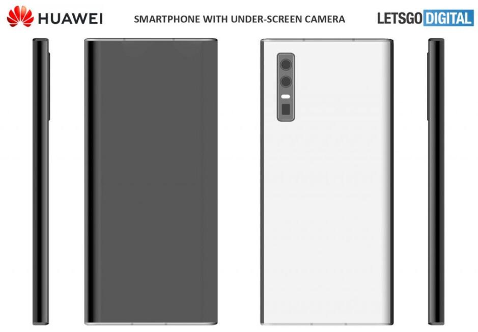 The smartphone seen in patent #1 - Huawei patents show futuristic under-screen camera smartphones