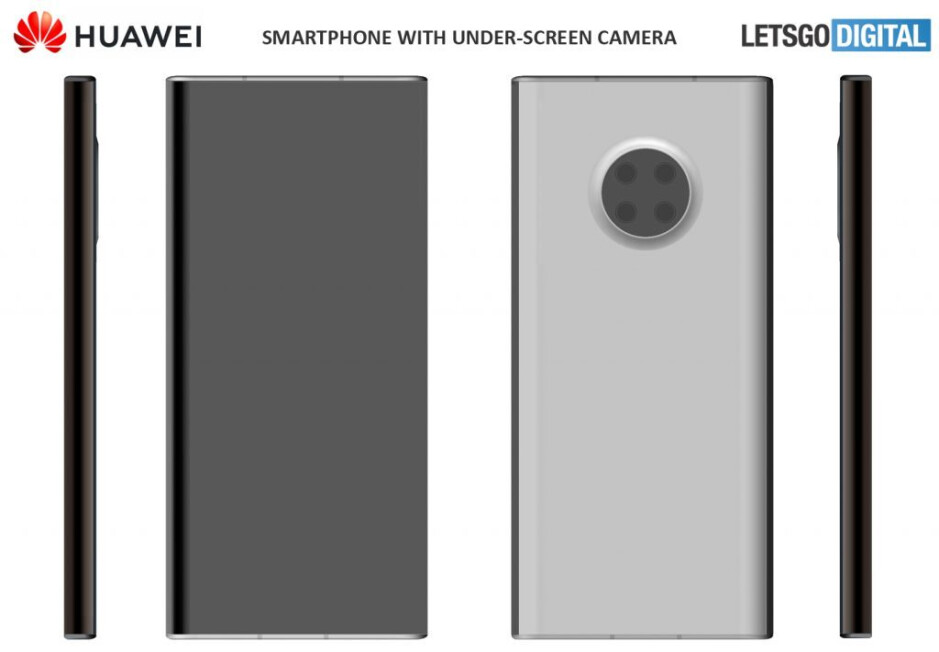 The smartphone seen in patent #2 - Huawei patents show futuristic under-screen camera smartphones