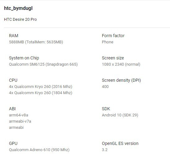 alleged HTC Desire 20 Pro specs - Leaked specs hint that the HTC Desire 20 Pro will not live up to its name