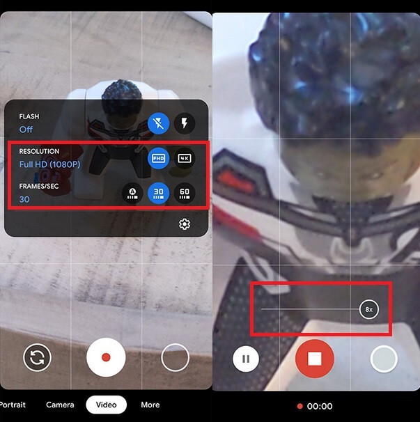 Google Camera update brings controls to switch between resolution and fps (L) and an 8x zoom for video (R) - Pixel 4 camera gets new video features after latest update
