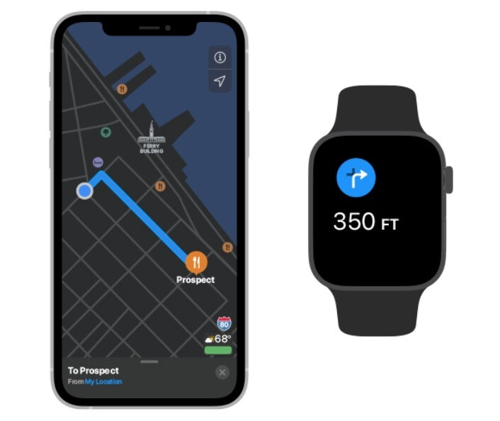 The Apple Watch working together with an iPhone will tap you when it is time to make a turn - Apple says that adding this device to the iPhone results in powerful capabilities