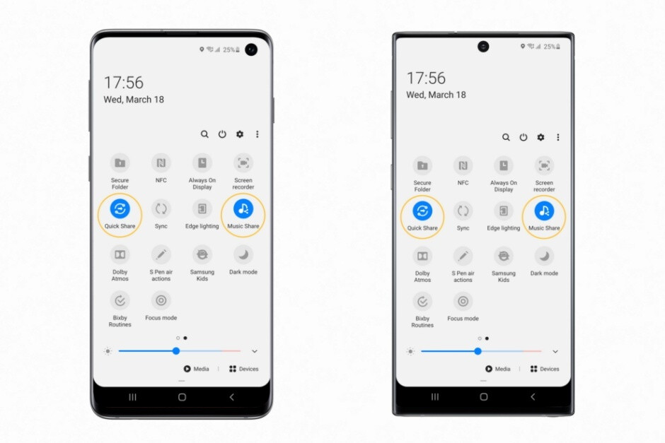 Quick Share and Music Share pictured on the Galaxy S10 (left) and Note 10 (right) - Samsung brings the absolutely massive One UI 2.1 update to the Galaxy Note 9