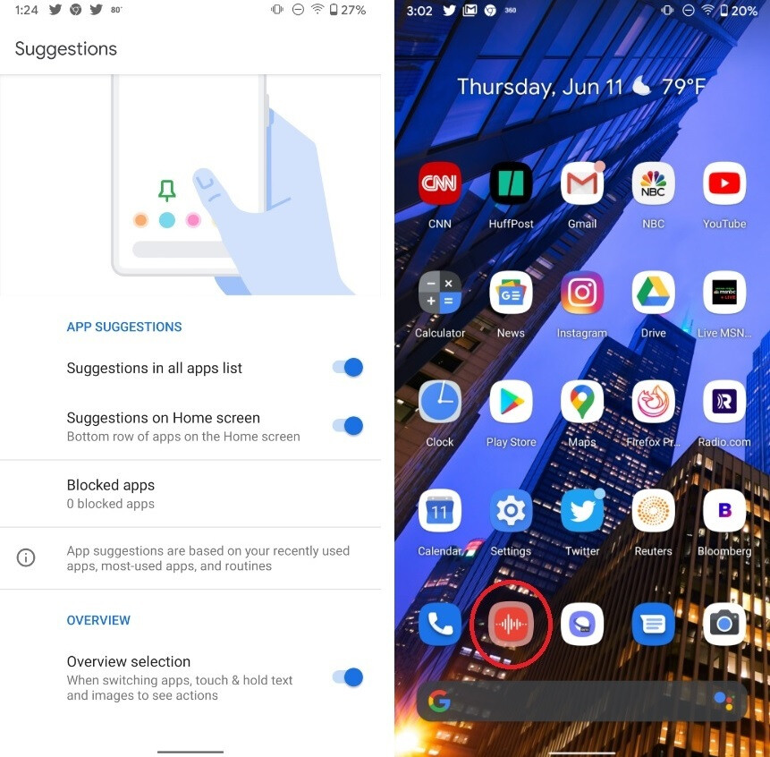 At right, Android 11 beta 1 recommended that we replace the Chrome app with the Recorder app on the home screen of our Pixel 2 XL - App suggestions hit your Pixel's home screen with Android 11 beta 1