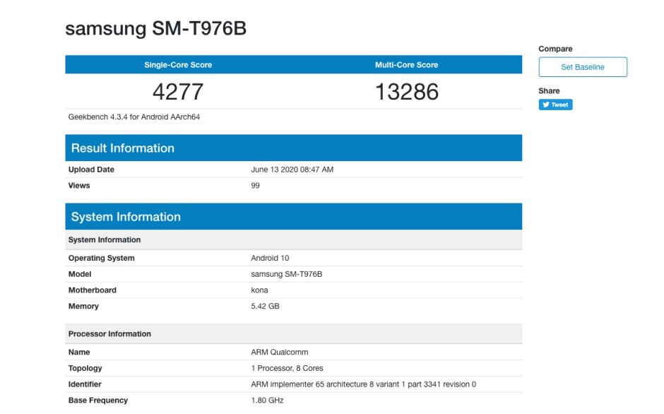 Samsung Galaxy Tab S7+ 5G benchmark - First benchmark reveals good but not great Samsung Galaxy Tab S7+ 5G (and Tab S7) specs