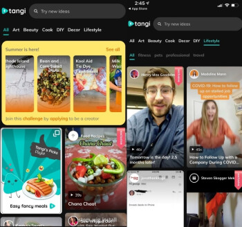 Tangi is now available for both Android (L) and iOS (R) users - Google's short-form video app Tangi now inspires Android users