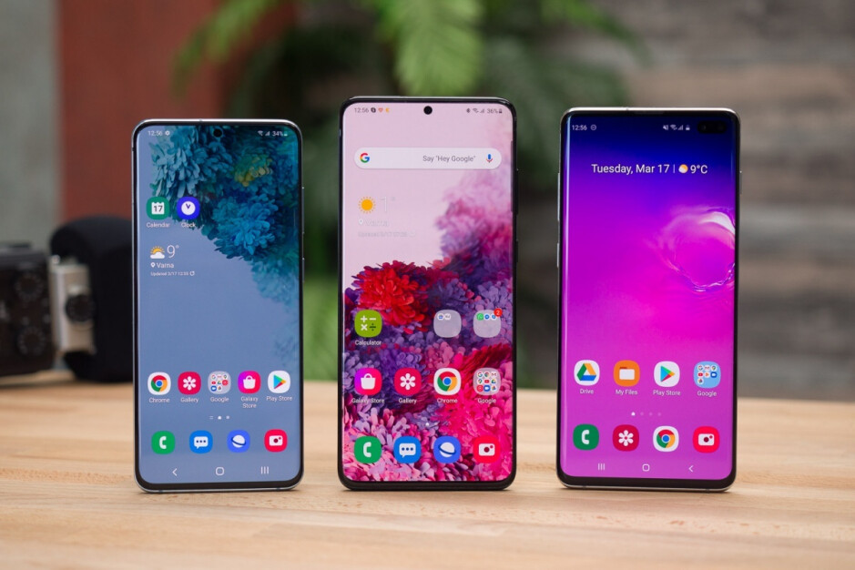 Galaxy S20, S20+, and S10+ (left to right) - Microsoft is holding a huge sale on Samsung's Galaxy S20 5G, Note 10, and S10 families