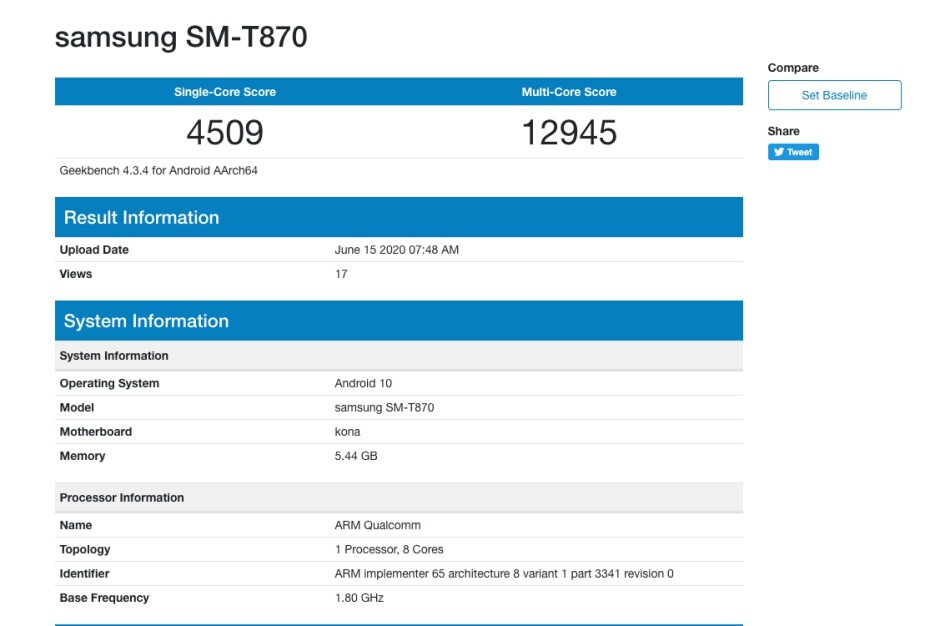 Samsung Galaxy Tab S7 benchmark - First benchmark reveals good but not great Samsung Galaxy Tab S7+ 5G (and Tab S7) specs