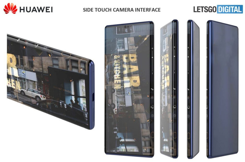 Notice how the camera controls are positioned inside of the display's curved edge. - The Huawei Mate 40 may feature intuitive camera touch controls