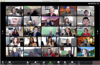 Example of a Zoom video conference - Zoom changes its mind giving a big win to its non-paying subscribers