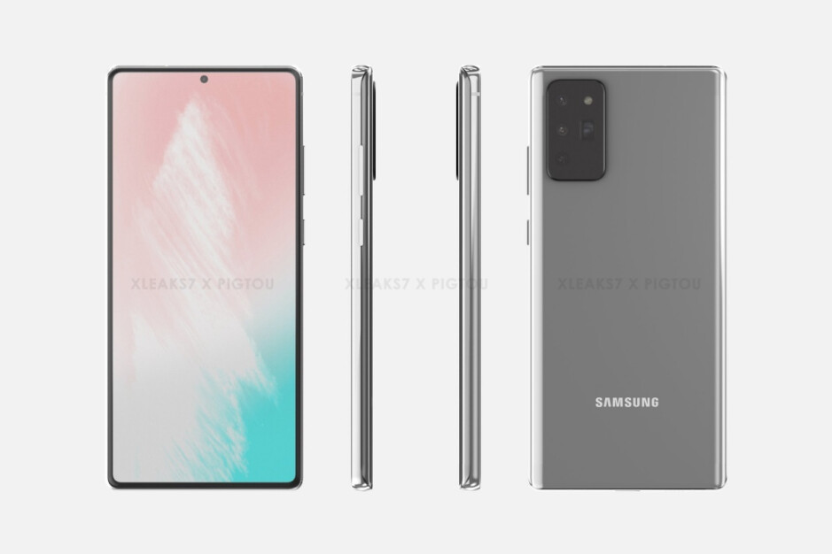 Leaked Galaxy Note 20 renders - Samsung's 'standard' Galaxy Note 20 5G may end up cutting one too many display corners