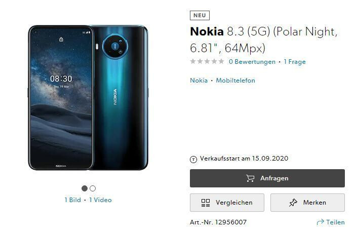 Nokia 8.3 5G Switzerland listing - Nokia 8.3 5G appears on Amazon