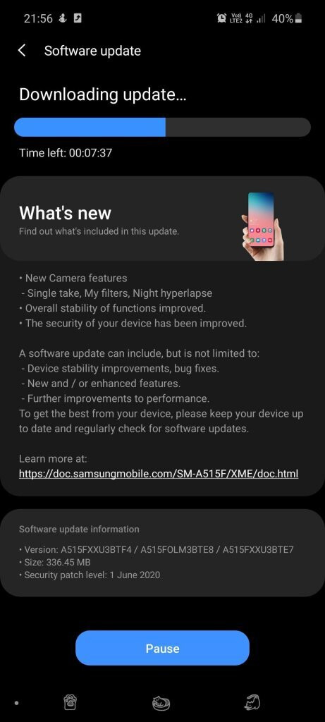 Samsung Galaxy A51 major update adds One 2.1 UI camera features