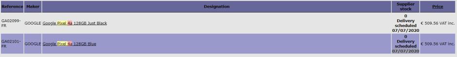 Pixel 4a Ordimedia listing - Google Pixel 4a European listings point towards a July release