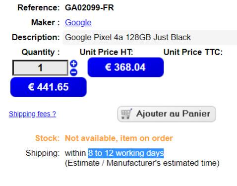 Pixel 4a eStock.fr listing - Google Pixel 4a European listings point towards a July release
