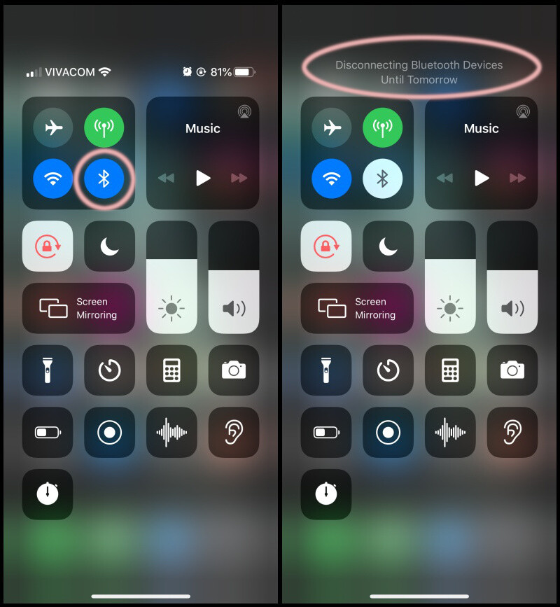 Disabling bluetooth from Control Center is temporary - How to save battery on iPhone SE (2020), any iPhone