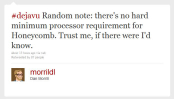 Google's Dan Morrill gets the word out about lack  of hardware requirements for Android 3.0