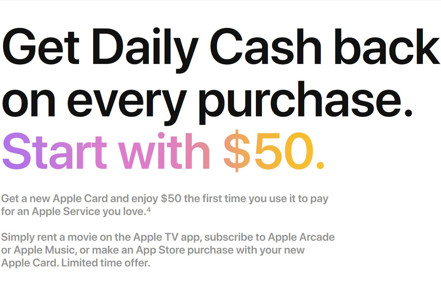 Apple Music, TV+ and Arcade promo takes $50 off for Apple Card subscribers