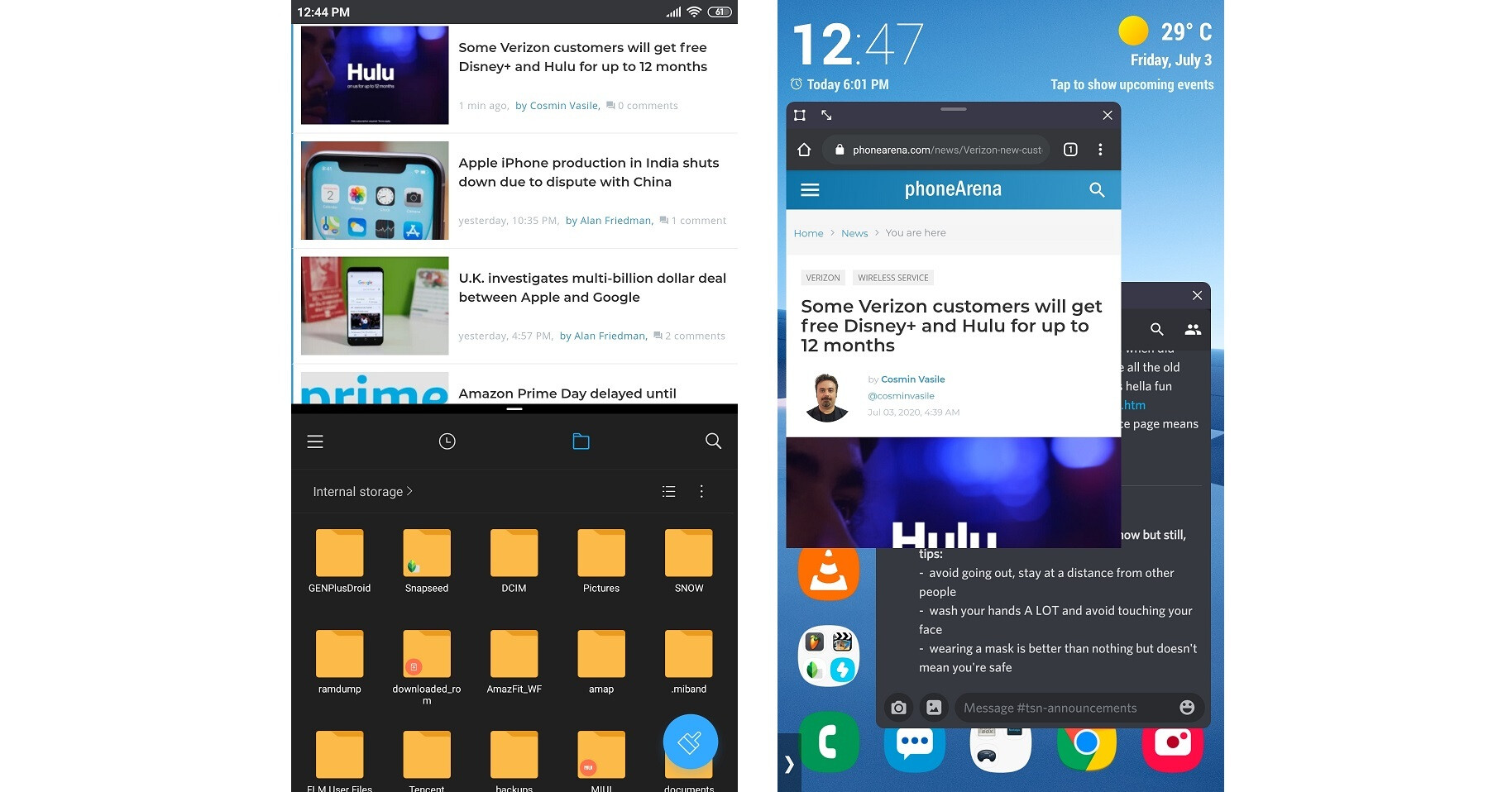 On the left I'm using standard split-screen multitasking, on the right I'm running apps in windowed mode. - Android VS iPhone power users – here's why we made our choice