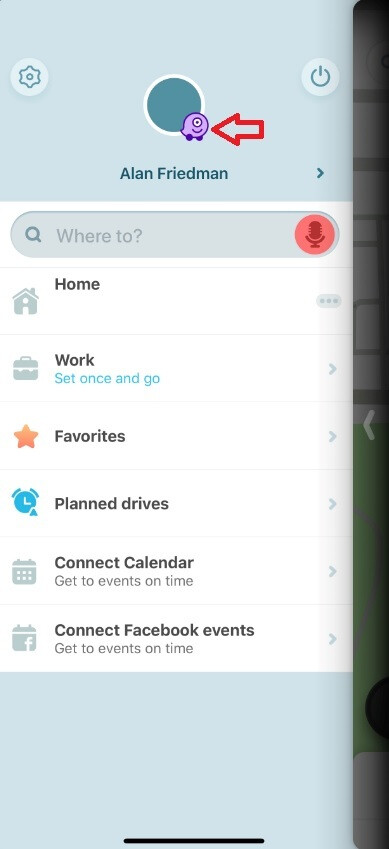 Hidden Waze Mood emoticon is a purple one-eyed monster. - Waze has hidden a secret Mood emoticon; here's how you can get it to appear on your phone