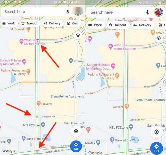 On the left arrows point to the traffic light icons being tested by Google - New useful feature being tested for Android version of Google Maps