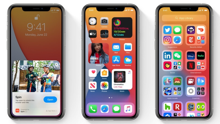 App Clips on the left with widgets in the center and the App Library on the right - Here's how you can be the first on your block to run iOS 14 on your iPhone