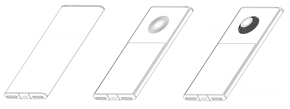 Patent drawings showing the telescopic camera lens - Xiaomi patents phone design with two displays and one mega camera