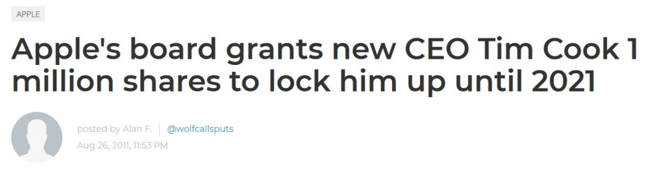 Our headline from August 26th, 2011 announcing Tim Cook's 10-year contract - Apple CEO Tim Cook will become a free agent at the end of next year