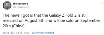 Twitter tipster Ice Universe says that Galaxy Z Fold 2 will be unveiled on August 5th - Tipster reveals possible unveiling and launch dates for the Galaxy Z Fold 2 5G