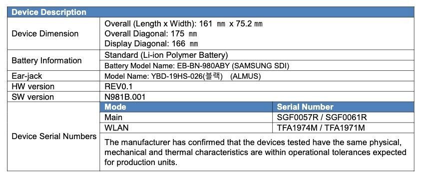 The Samsung Galaxy Note 20 5G battery and screen size leak at the FCC